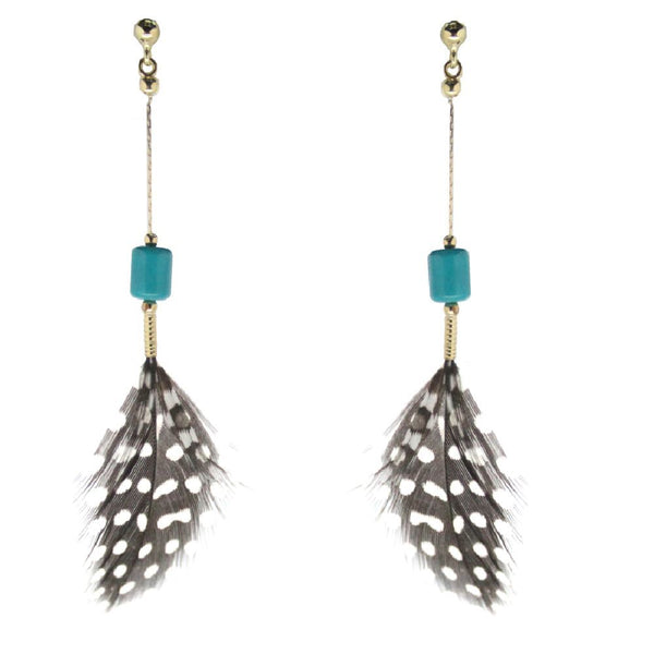 18K Yellow Gold with turquoise polka dot guinea feathers dangle post earringsAmalia J. & Boutique Lady Gold Jewelry