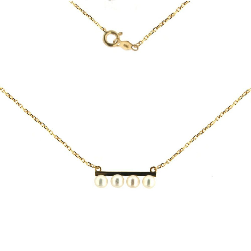 18K Yellow Gold 4 cultivated 3mm pearls in bar Necklace 18 inches with extra ring at 17 inchesAmalia J. & Boutique Necklaces