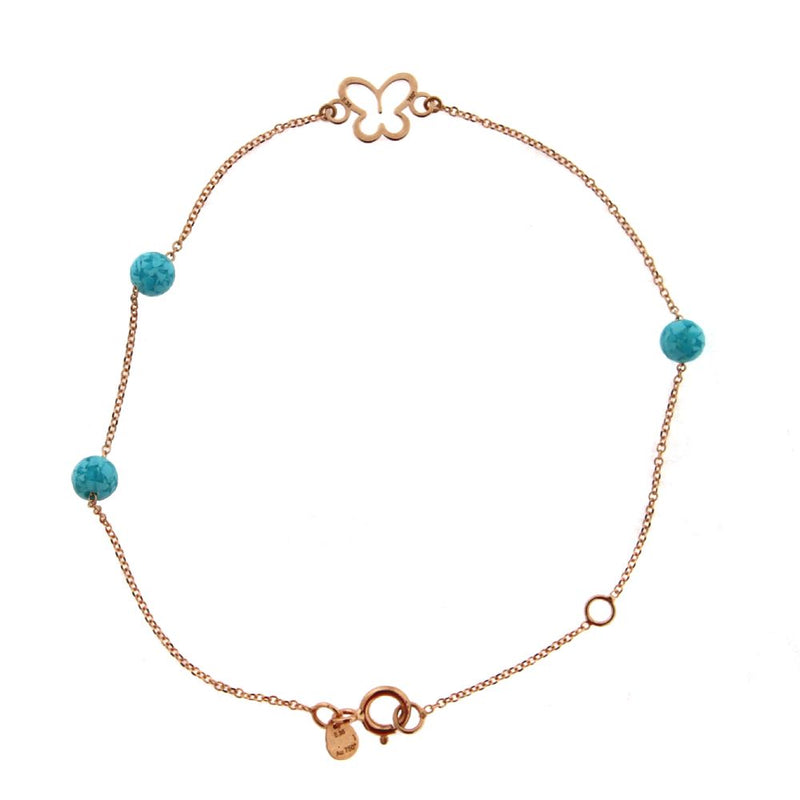 18K Pink Gold  Open Butterfly with 3 Turquoise Beads Bracelet 7 inches with extra rinf at 6.25 inchesAmalia J. & Boutique Bracelets