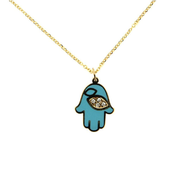 18K Yellow Gold  Diamond and Turquoise Ceramic Hamsa Hand Necklace 17 inches with extra ring at 15.5 inches D 0.016 ct Tw.Amalia J. & Boutique Lady Gold Jewelry