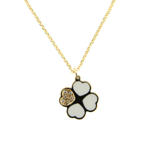 18K Yellow Gold Diamond and Blue Ceramic Clover Necklace 17 inches with extra ring at 15.5 inchs D 0.024 ct twAmalia J. & Boutique Lady Gold Jewelry