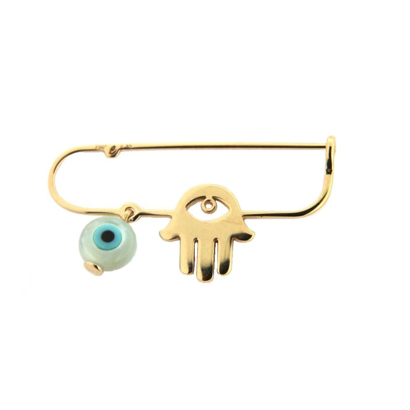 18Kt Yellow Gold Hand and  Eye  Safety PinAmalia J. & Boutique Charms
