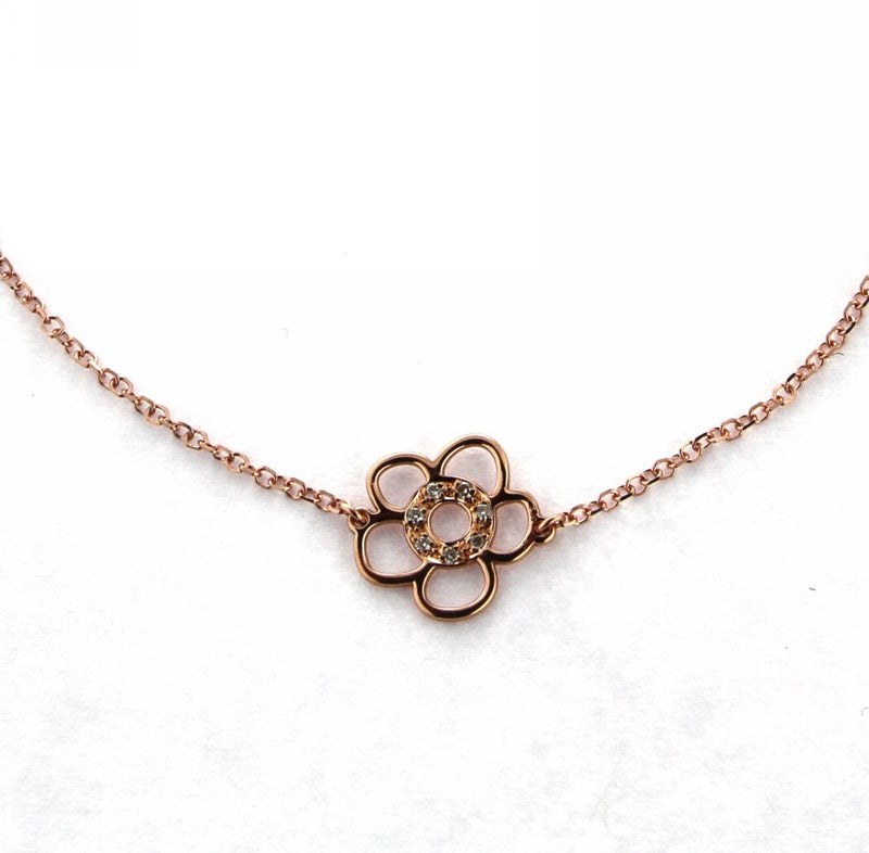 18K Pink Gold Flower and Diamonds bracelet 7 inches with extra ring in 6 inches ct 0.028Amalia J. & Boutique Bracelets