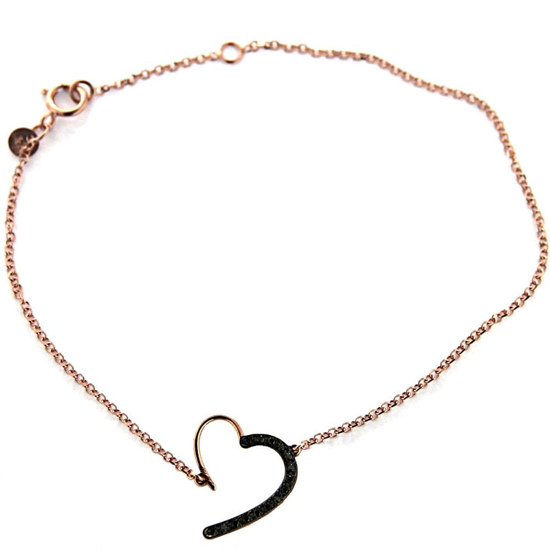 18K Pink Gold Open Heart and Black Diamonds bracelet 7 inches with extra ring in 6 inches ct 0.06Amalia J. & Boutique Bracelets