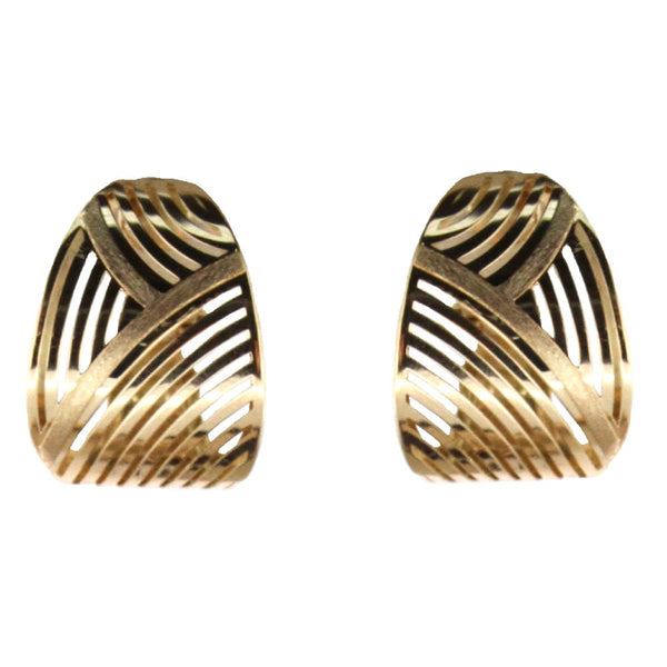 18K Yellow Gold open Curb Lines and two Satin Curb  Lines Design wide earrings with omega backs W-0.65 inchAmalia J. & Boutique Lady Gold Jewelry