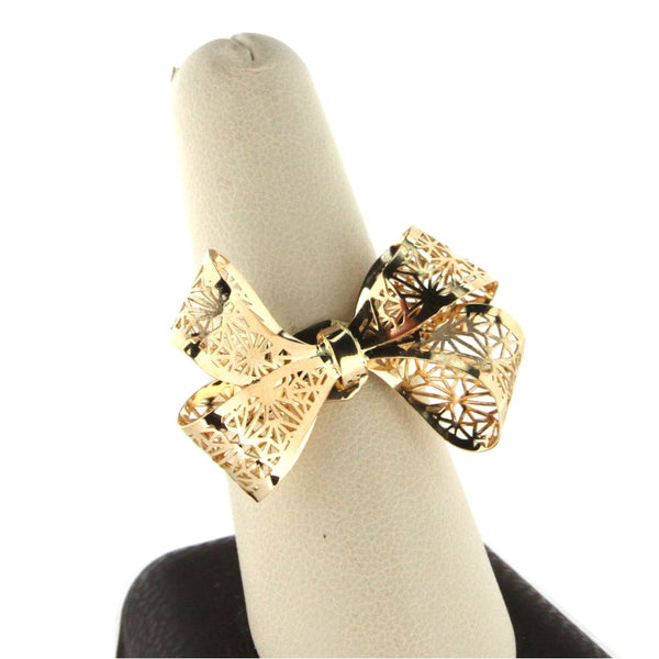 18K Yellow Gold open Open Design Bow Ring size 8Amalia J. & Boutique Lady Gold Jewelry