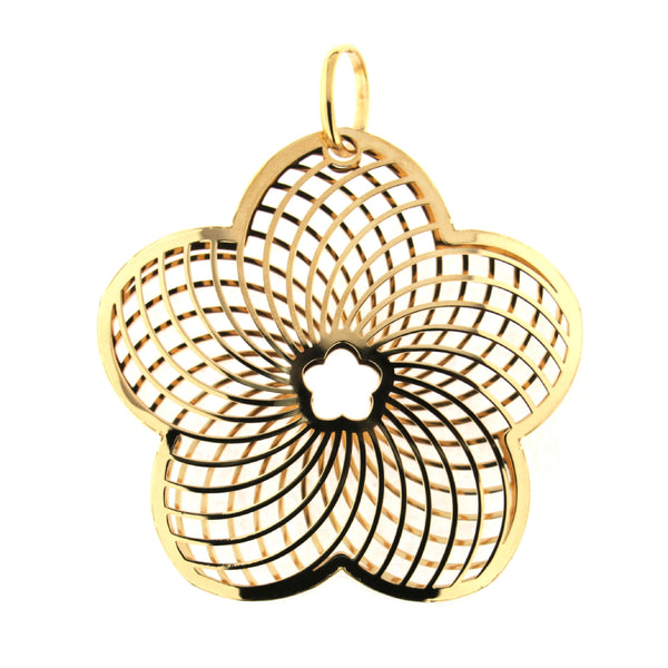 18K Yellow Gold Open Modern Design Large Flower Pendant W-2.50 InchesAmalia J. & Boutique Lady Gold Jewelry