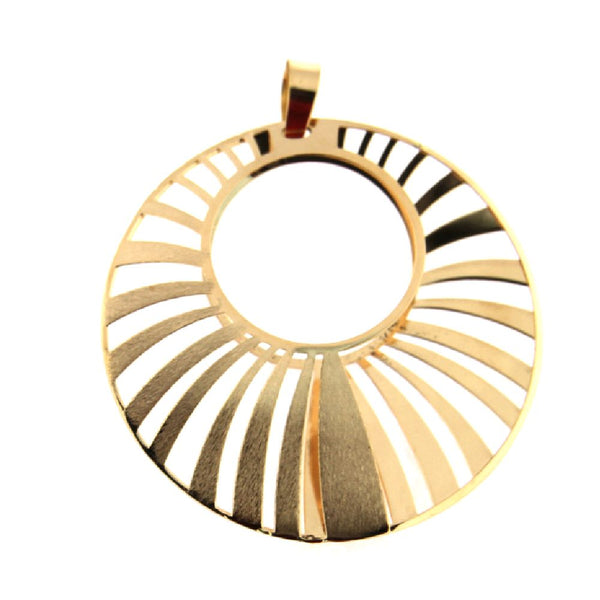 18K Yellow Gold  Satin and Polished Open Design Circular Pendant  Diameter 1.5 inchAmalia J. & Boutique Lady Gold Jewelry