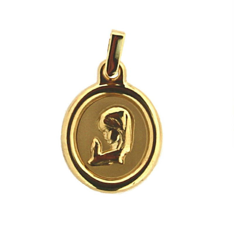 18kt  Yellow Gold Virgin Girl   Virgen Nina Medal Oval 27 mm X  16 mm   1.06 x 0.63 inches with bailAmalia J. & Boutique Charms