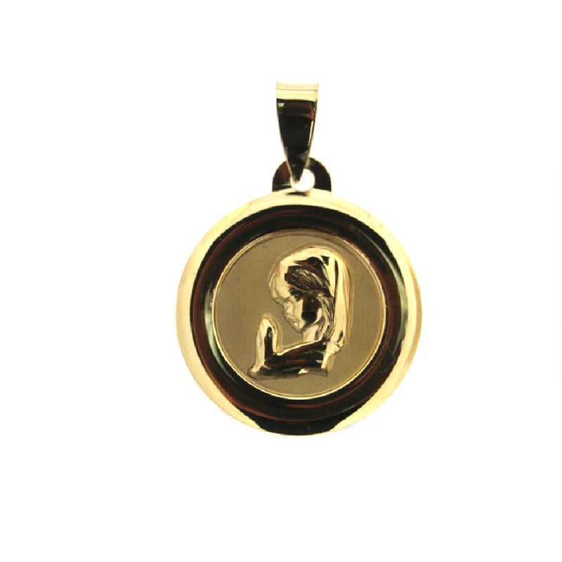 18kt Solid Yellow Gold Virgin Girl  Medal  17.50 mm  0.69 inches DiameterAmalia J. & Boutique Charms