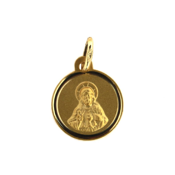 18k Solid Yellow Gold Sacred Heart Medal 12 mm 0.47 inches . Medalla del Sagrado Corazon 12mmAmalia J. & Boutique Charms