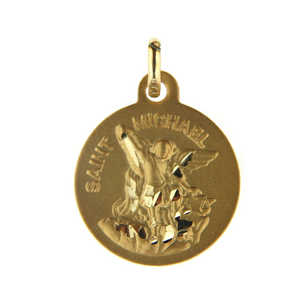 18K  Solid Yellow Gold Saint Michael  Archangel Medal 14 mm 0.55 Inch Patron of warriors the sick and the sufferingAmalia J. & Boutique Charms
