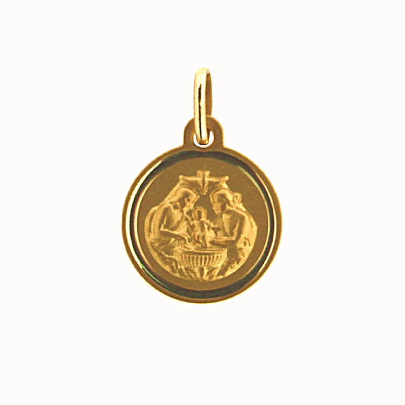 18k solid yellow gold Baptist Medal 12 mm 0.47 inches diameterAmalia J. & Boutique Charms