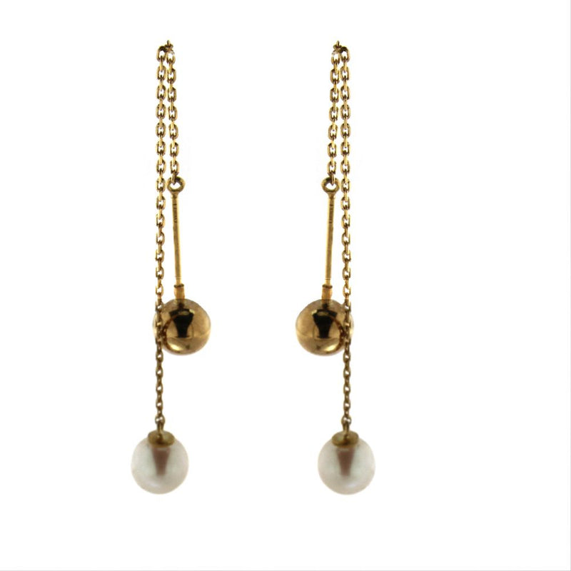 18K Yellow Gold 6 mm. Cultivated Pearl and 6 mm Polished Ball Thread  Earrings .3 inches from Pearl to Ball.Ball screw  in and outAmalia J. & Boutique Earrings