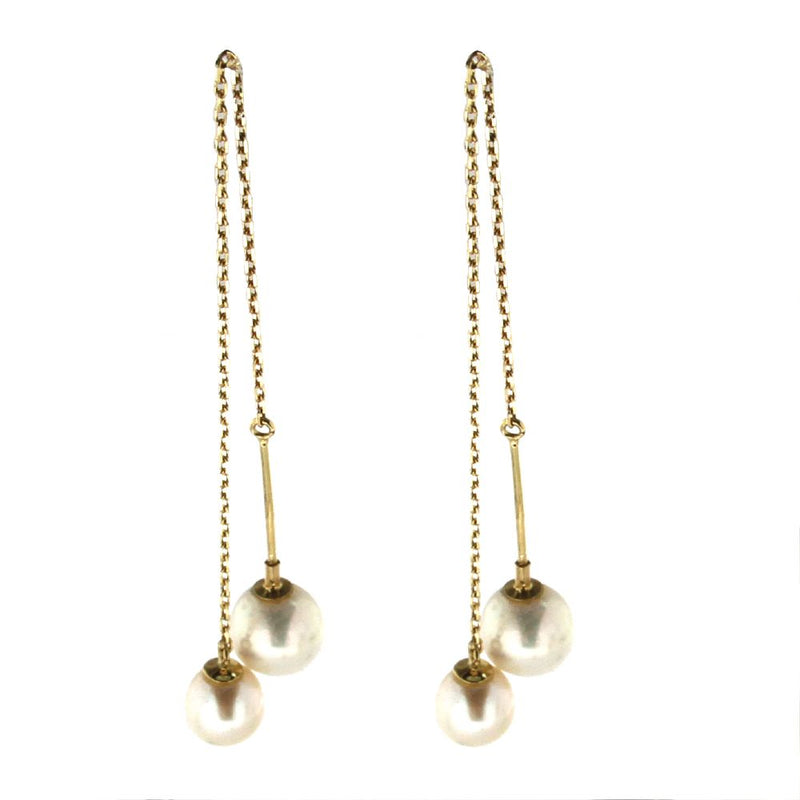 18K Yellow Gold 6.50 mm Cultivated  Pearl and 7.5 mm Cultivated  Pearl Thread  Earrings .3 inches from Pearl to PearlAmalia J. & Boutique Earrings