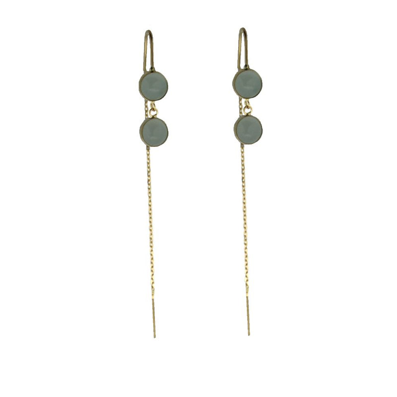 18K Yellow Gold Green stone thread earringsAmalia J. & Boutique Earrings