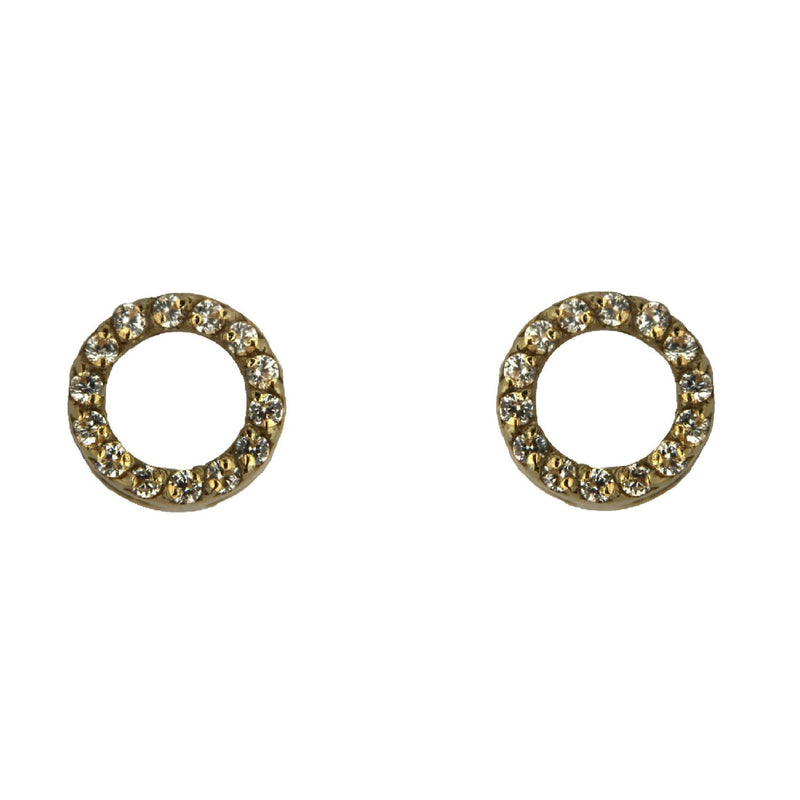18K Solid Yellow Gold Swarovski  Zirconia Circle Post Earrings 0.30 inch diameterAmalia J. & Boutique Earrings