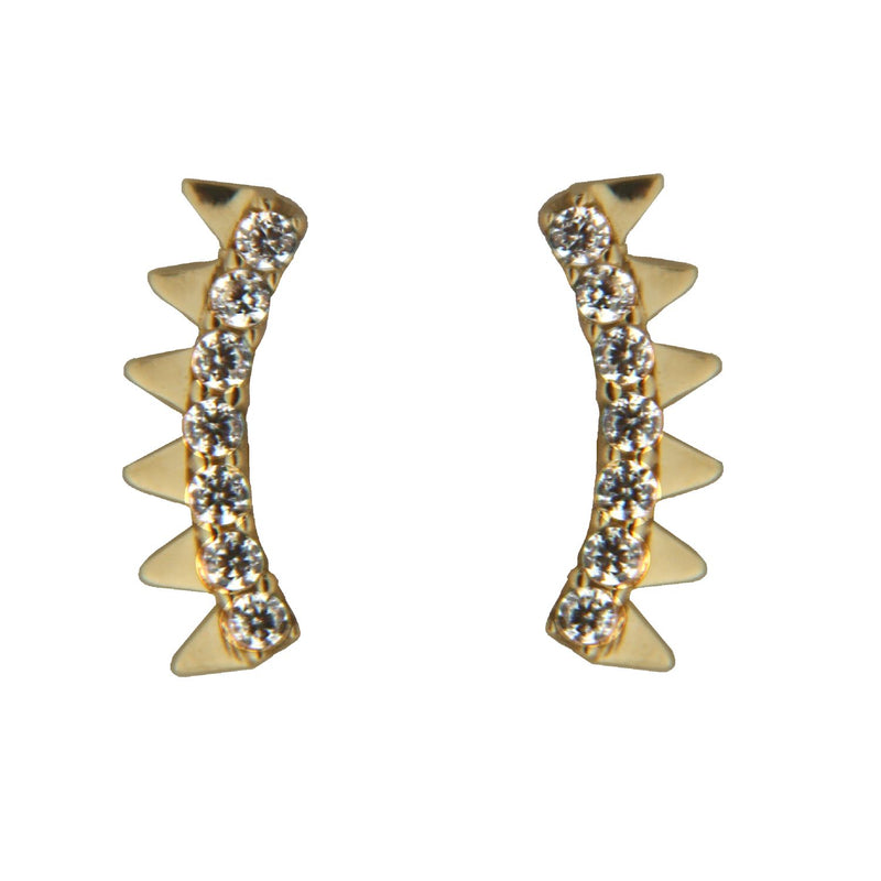 18K Solid Yellow Gold Cubic Zirconia  Triangles Mini Crawler Post Earrings 034 inchAmalia J. & Boutique Earrings
