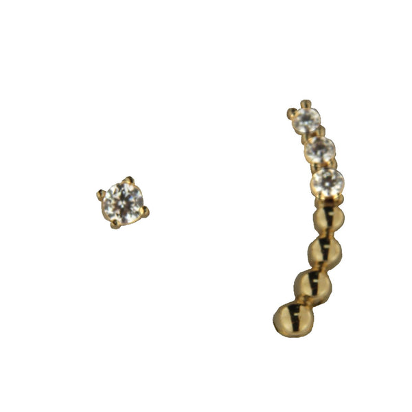 18K Solid Yellow Gold 1/2 Pair Gold bead and Cubic Zirconia Post Crawler 1/2 Pair Cubic Zirconia Post Stud Earrings Crawler 0.46 inch  stud 0.008 inchAmalia J. & Boutique Earrings
