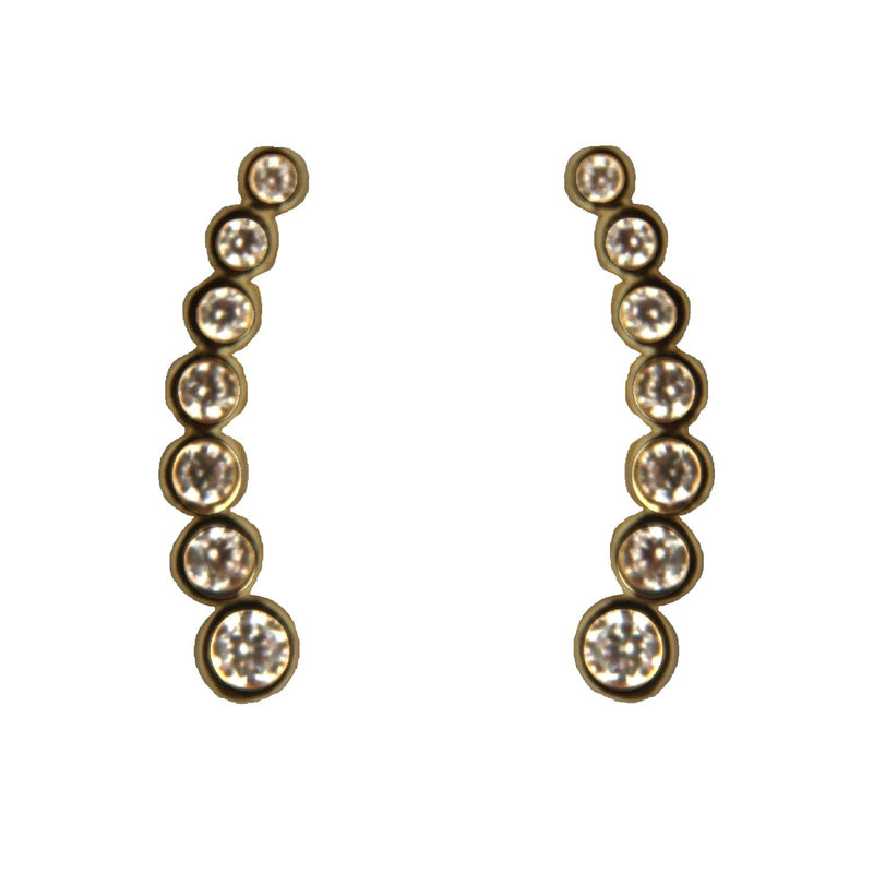 18K Solid Yellow Gold Swarovski Crystal Ear Climbers 0.50 inchAmalia J. & Boutique Earrings