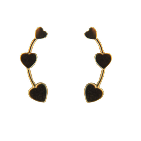 18K Solid Yellow Gold Mini Hearts Crawler Post Earrings 0.45 inchAmalia J. & Boutique Earrings