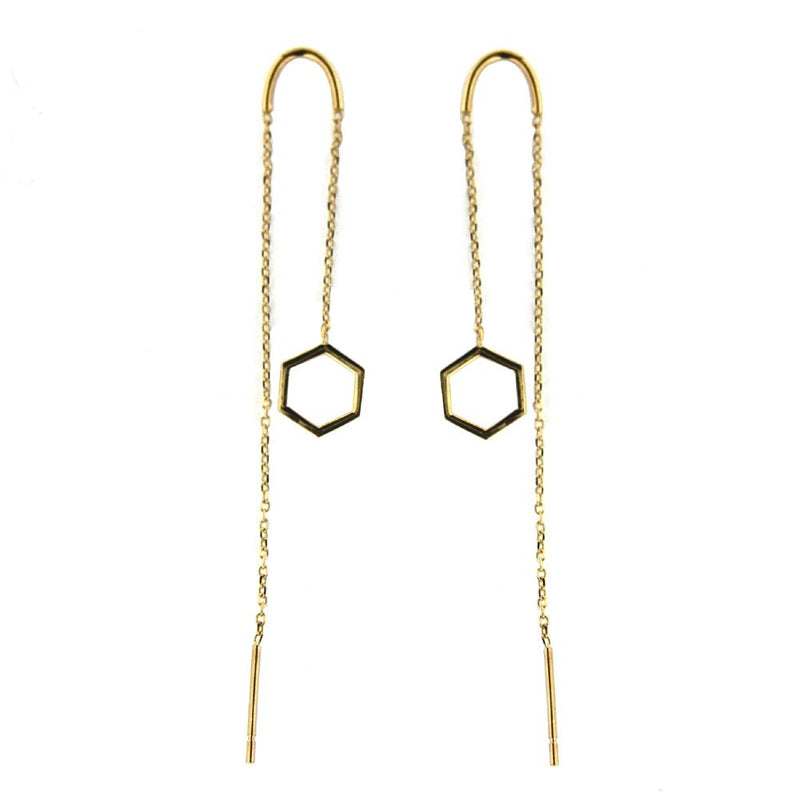 18k Yellow Gold Open Hexagon thread  dangle earrings with curve tube for easy feet 4 inchAmalia J. & Boutique Earrings
