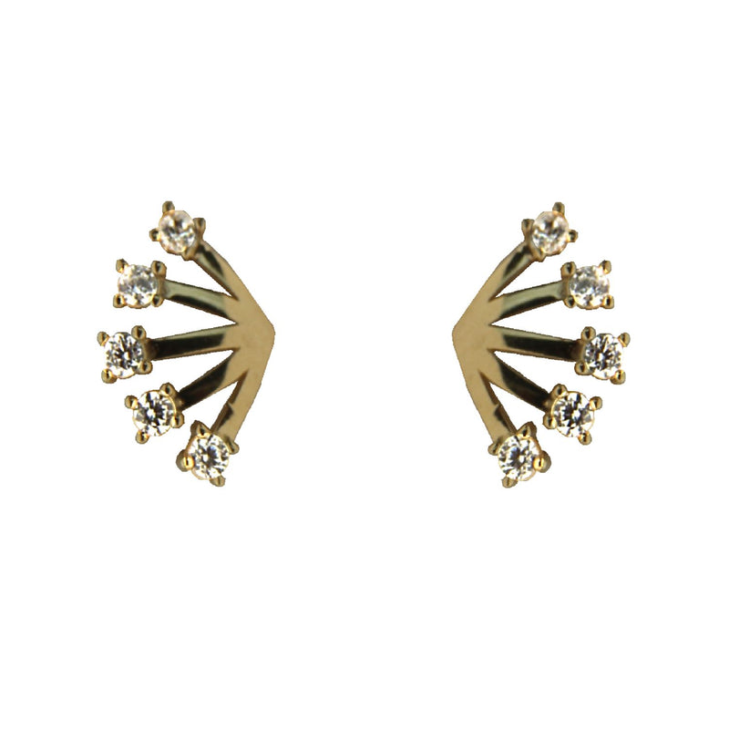 18K Solid yellow Gold Swarovski  Zirconia Fan design Post Earrings 0.40 x 0.29 inchAmalia J. & Boutique Earrings