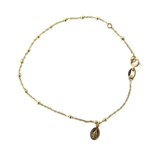 18k Yellow Gold Rosary style Miraculous Medal Bracelet 7 inches with extra ring at 6 inchAmalia J. & Boutique Bracelets