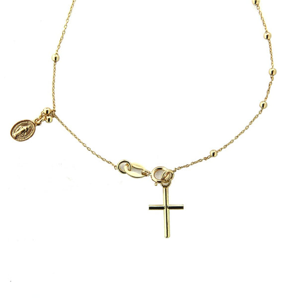 18k Solid Yellow Gold Rosary  Bracelet  with cross and miraculous  medal 7 inchAmalia J. & Boutique Bracelets