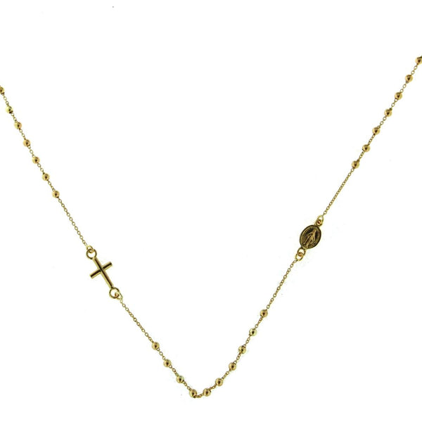 18K Yellow Gold in line Rosary necklace with cross and Miraculous medal 16 inches 1.85mm Holly Merry BeadsAmalia J. & Boutique Necklaces