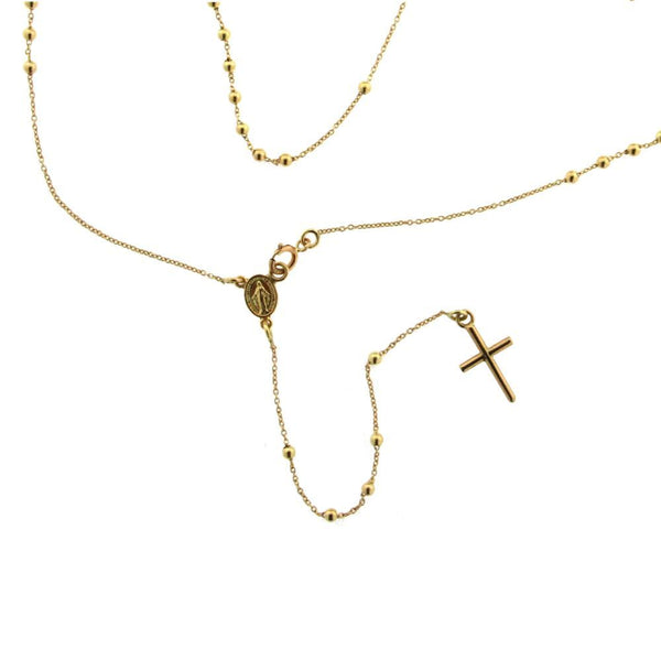 18K Yellow Gold Small and thin Rosary Necklace . 16.50 inches from Miraculous Medal .Fifty Holly Mary Beads. Total 59 Beads.Clasp next to medal. Beads 1.85mmAmalia J. & Boutique Necklaces