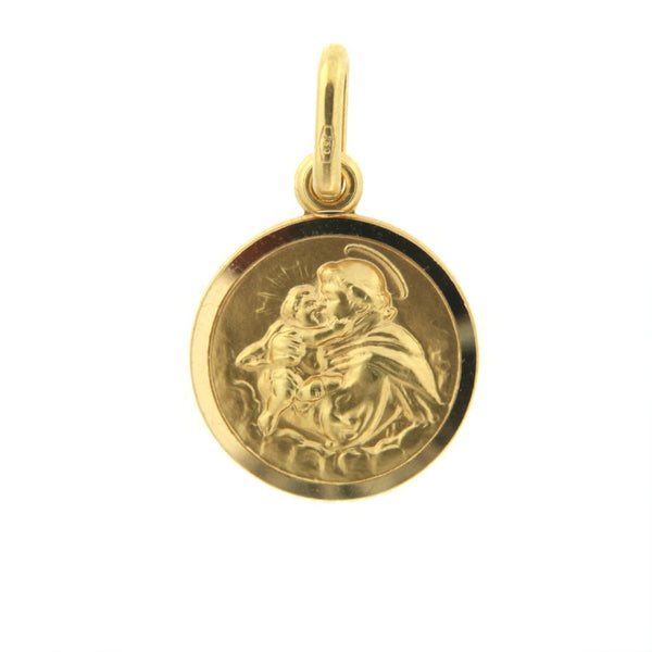 18K Solid Yellow Gold Round St. Anthony Small Medal 13 mm 0.51 inch diameterAmalia J. & Boutique Charms
