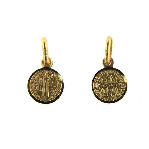 18K Solid Yellow Gold 09 mm San Benito Medal 0.35 inch diameter. Front San Benito  and back  Cross18k  Authentic 1880 Jubilee-design MedalsAmalia J. & Boutique Charms