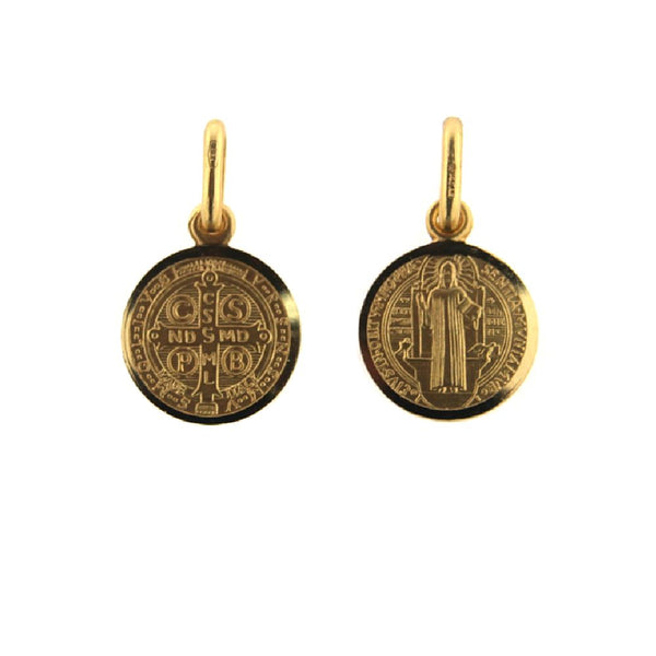 18K Solid Yellow Gold 11 mm San Benito Medal 0.43 inch diameter. Front San Benito  and back  Cross. Authentic 1880 Jubilee-design MedalsAmalia J. & Boutique Charms
