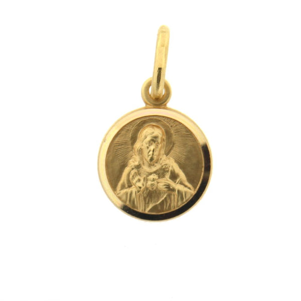 18K Solid Yellow Gold Round Sacred Heart of Jesus Medal  11 mm 0.43  inch diameter. Sagrado Corazon de Jesus.Amalia J. & Boutique Charms