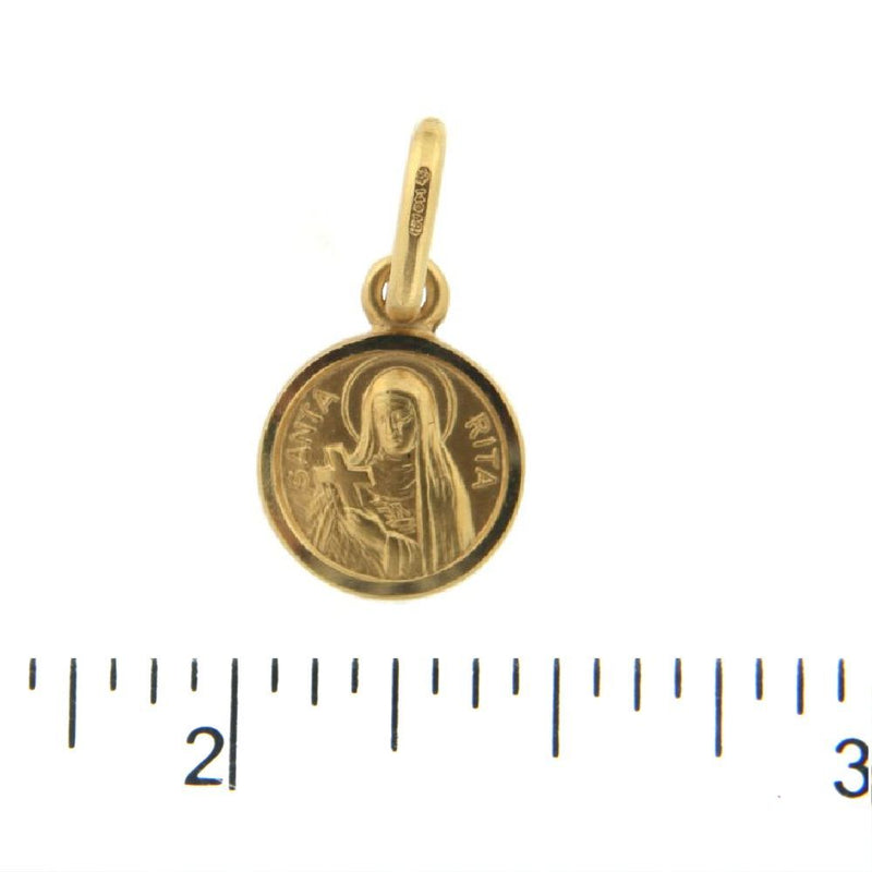 18K Solid Yellow Gold Round Saint Rita Of Cascia Patroness of Impossible Causes Medal. 11 mm 0.43 mini size.Santa RitaAmalia J. & Boutique Charms