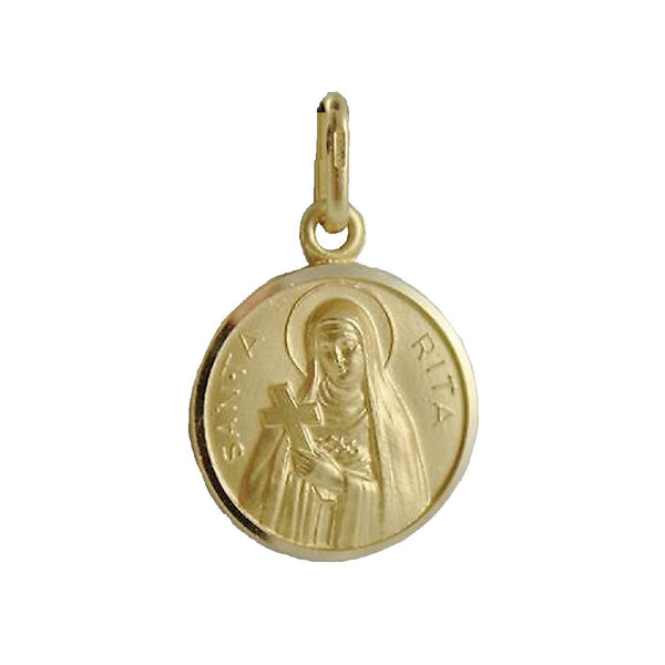 18K Solid Yellow Gold Round Saint Rita Of Cascia Patroness of Impossible Causes Medal. 13 mm 0.51 Diameter size.Amalia J. & Boutique Charms