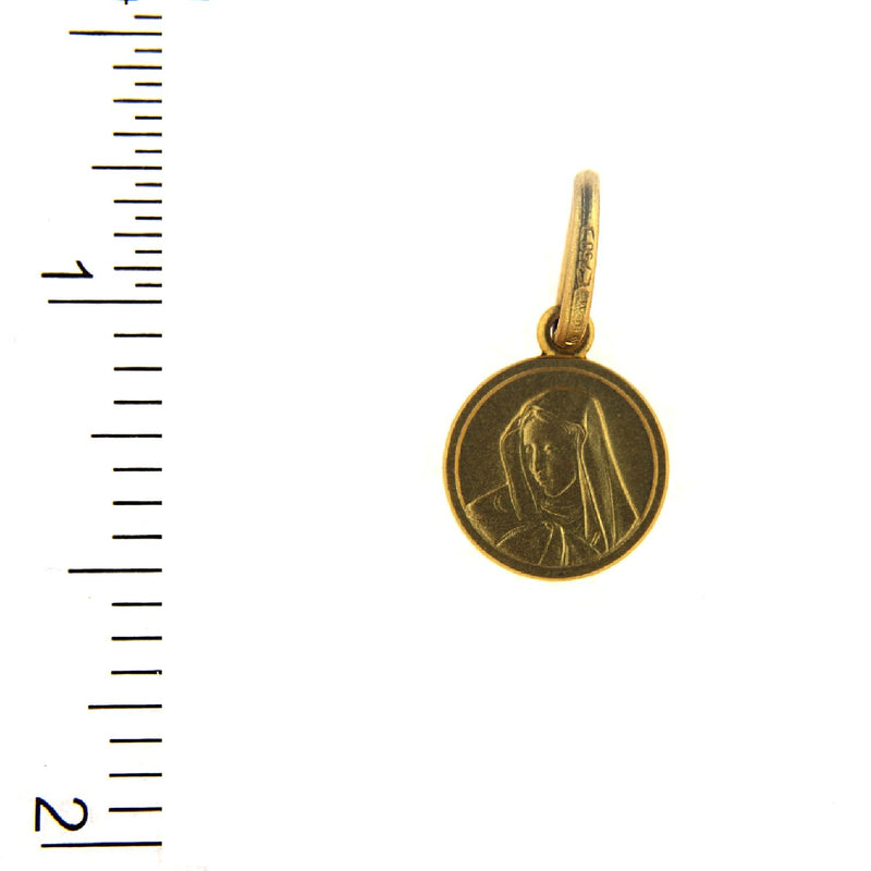 18K Solid Yellow Gold Virgin Mary Madonna Medal 10mmAmalia J. & Boutique Charms