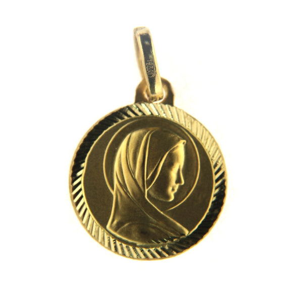 18k Solid Yellow Gold Virgin Mary Madonna Medal  14mm with Diamond cut BezelAmalia J. & Boutique Charms