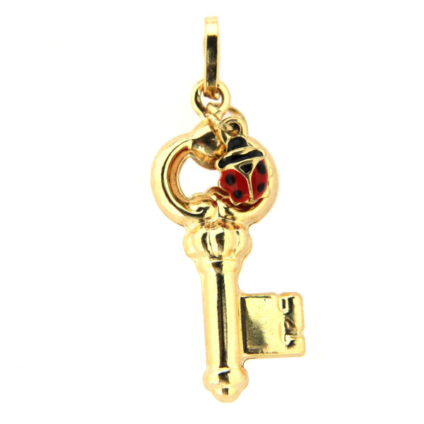 18K Yellow Gold Key and Red Enamel Lady Bug pendant H 1.05 inchAmalia J. & Boutique Lady Gold Jewelry