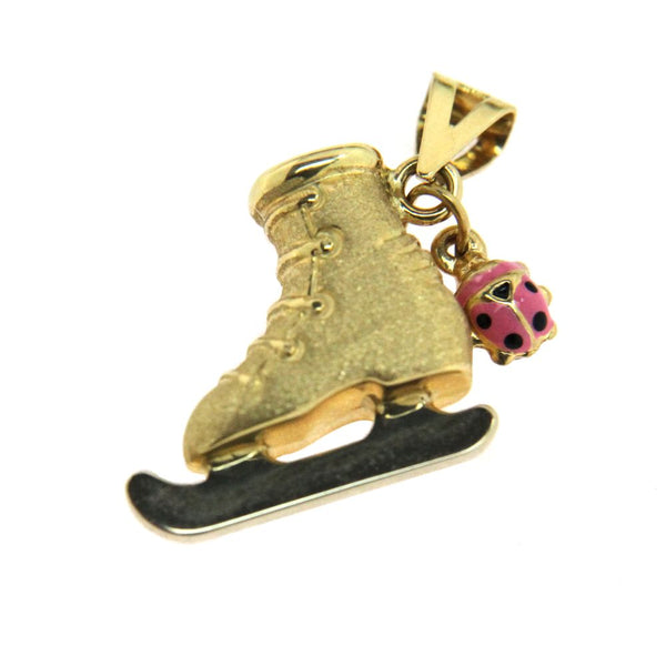 18K Yellow Gold Satin Ice Skate and Pink enamel  Lady Bug Pendant H 0.62 inchAmalia J. & Boutique Lady Gold Jewelry