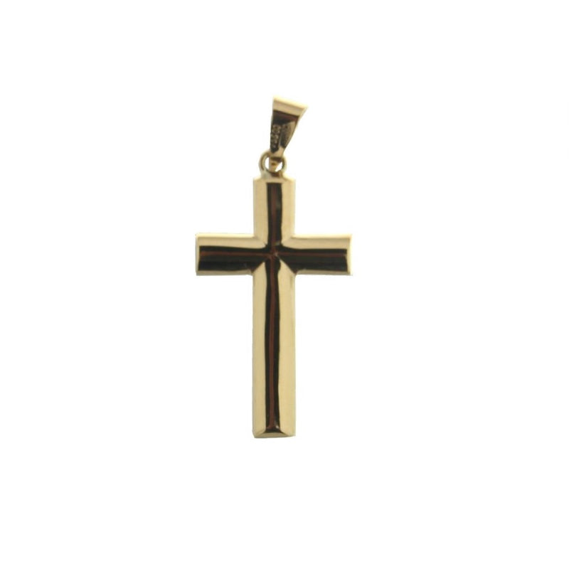 18K Yellow Gold Polished  Oval  Cross H 1.13 inch with bail Oval tube 3.4 mmAmalia J. & Boutique Charms