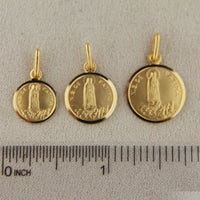 18K Solid Yellow Gold Round Our Lady of Fatima Medal with inscription  N S DE FATIMA Our Lady of Fatima