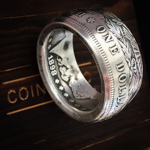 100% silver Morgan Silver Dollar Coin Ring 'eagle' 1899 O Mint Handmade - COINSPESO