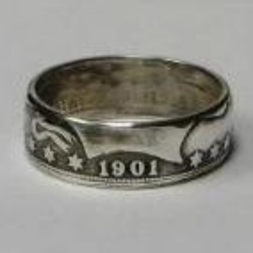 90% Silver US Barber Half Dollar Ring '1901' Handmade In Sizes 5-15 - COINSPESO
