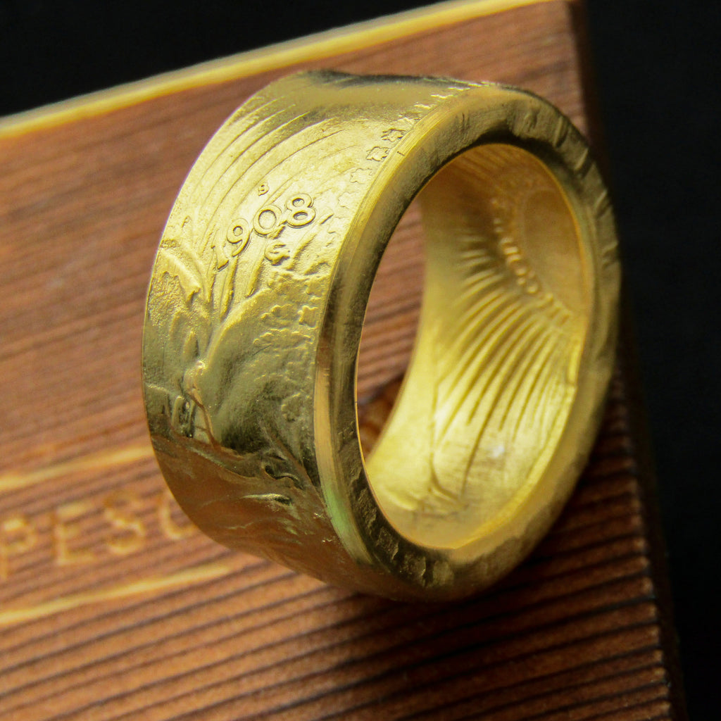 1908 St. Gaudens $20 Gold Plated Coin Ring - COINSPESO