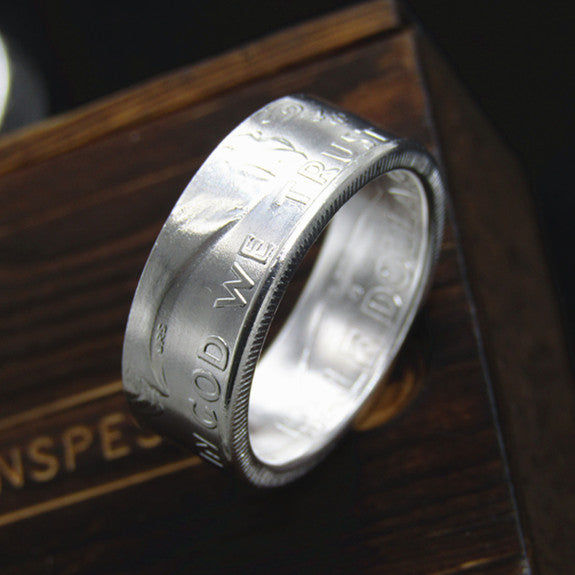 1951 US Franklin Half Dollar Ring 90% silver Handmade In all Sizes - COINSPESO