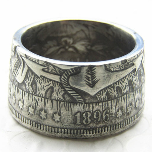 Hobo 1896 Morgan Silver Dollar Coin Ring Handmade In Sizes 5-16 - COINSPESO