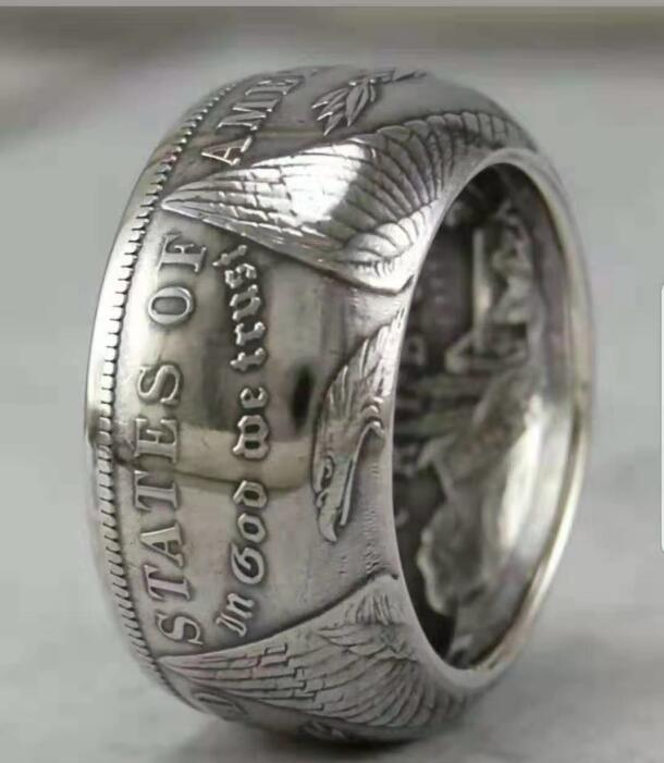 90% silver Morgan Dollar Coin Ring 'eagle' Customized Dates Handmade In Sizes 5-16 - COINSPESO
