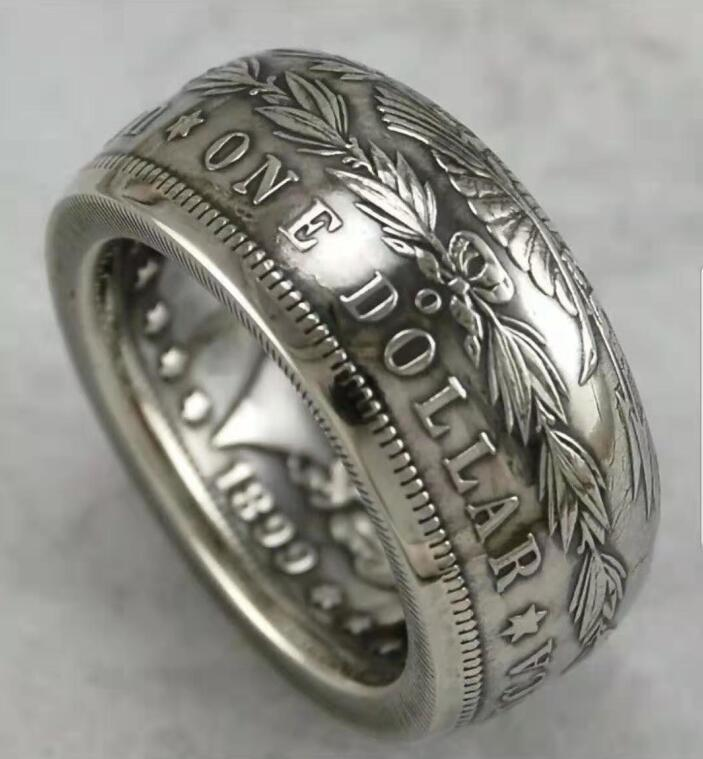 1890 Silver Morgan Dollar Coin Ring Customized In All Years Size 4 to 16 - COINSPESO